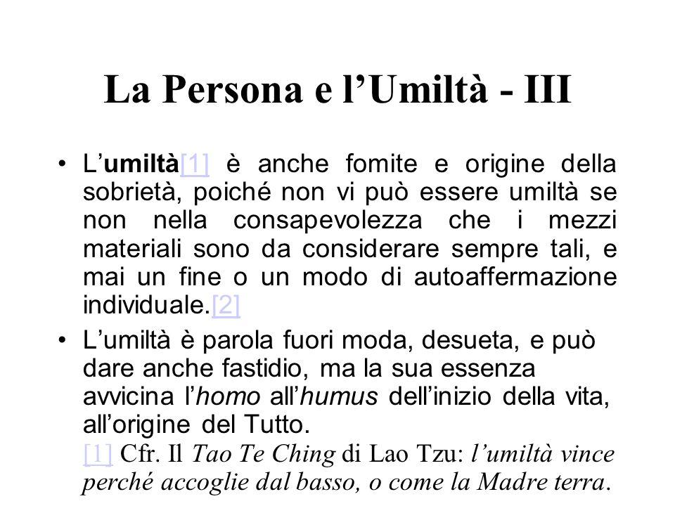 La Persona e l'Umiltà - III