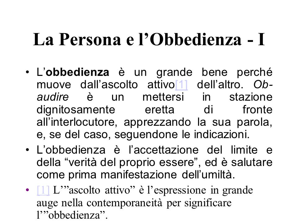 La Persona e l'Obbedienza - I