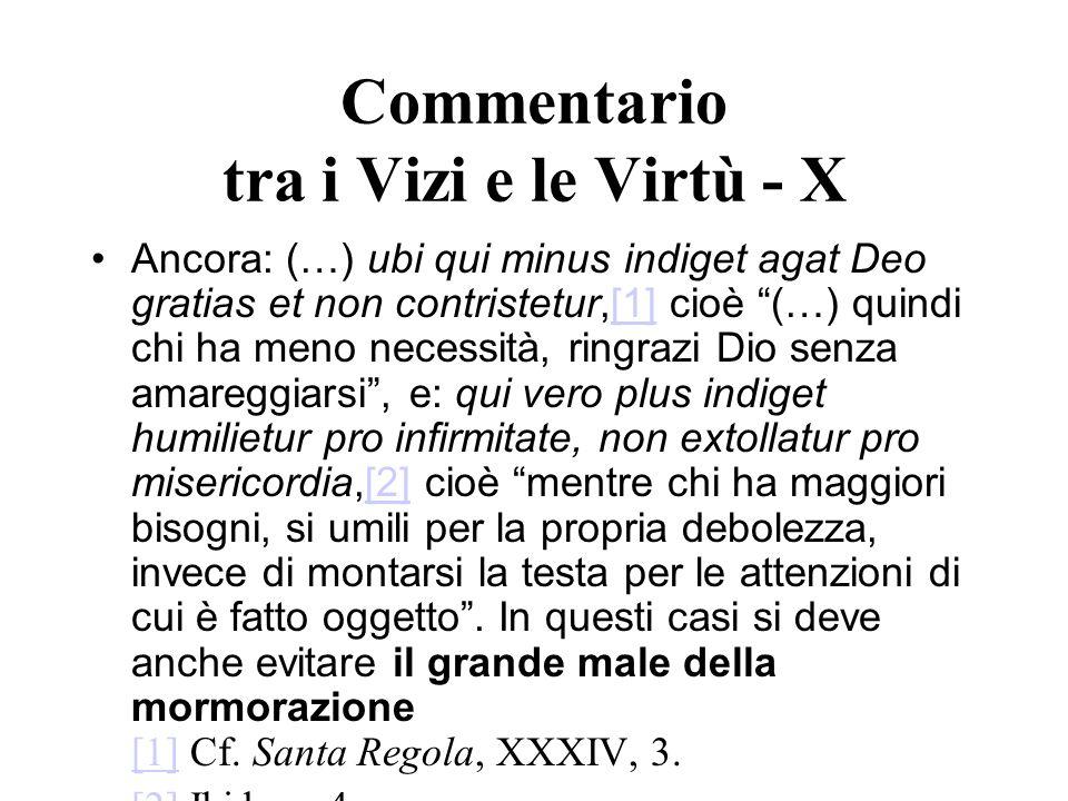 Commentario tra i Vizi e le Virtù - X