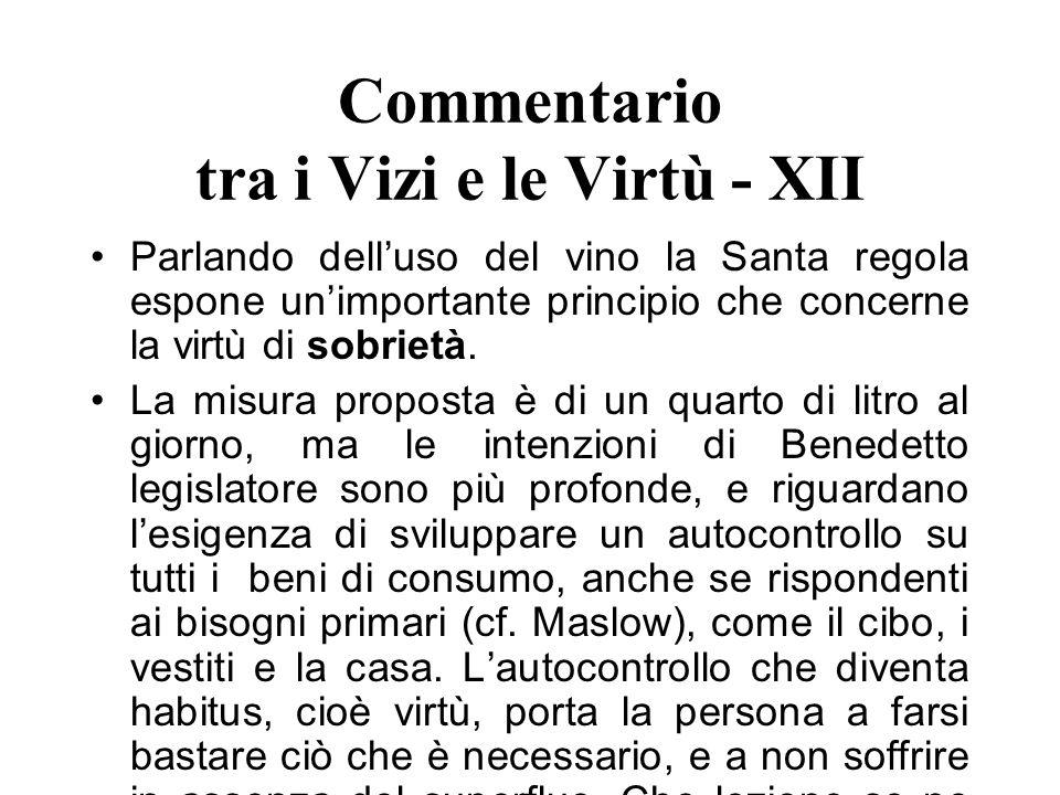 Commentario tra i Vizi e le Virtù - XII