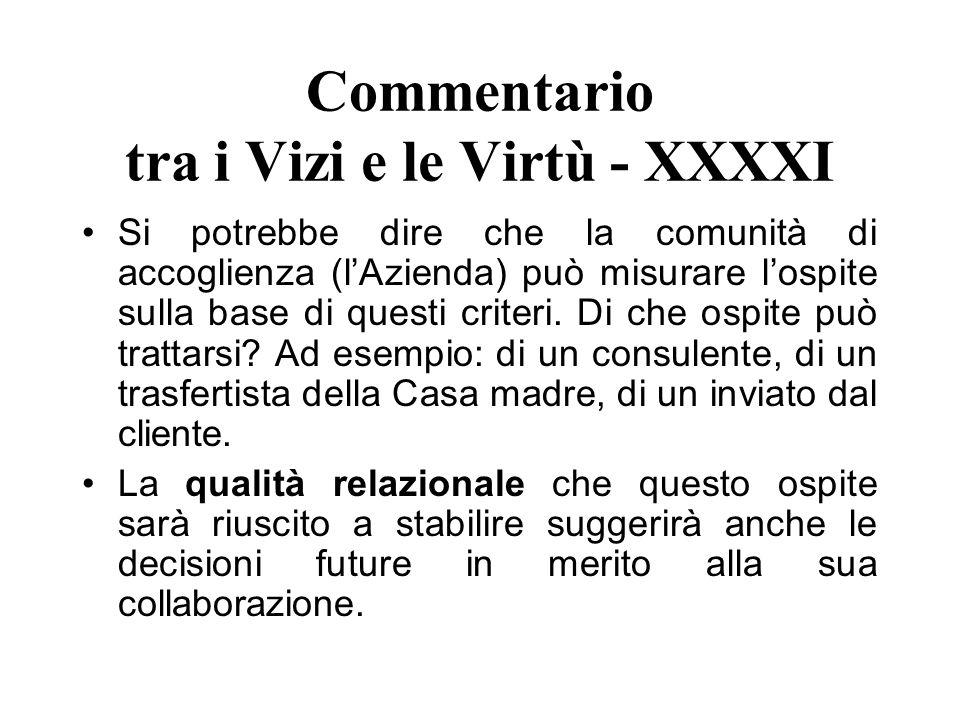 Commentario tra i Vizi e le Virtù - XXXXI