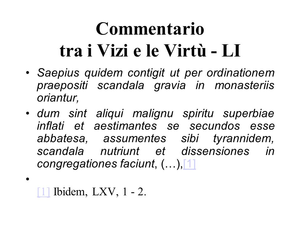 Commentario tra i Vizi e le Virtù - LI