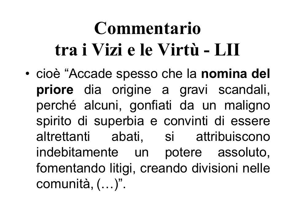 Commentario tra i Vizi e le Virtù - LII