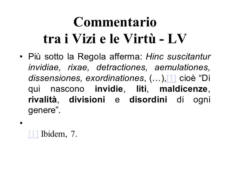 Commentario tra i Vizi e le Virtù - LV
