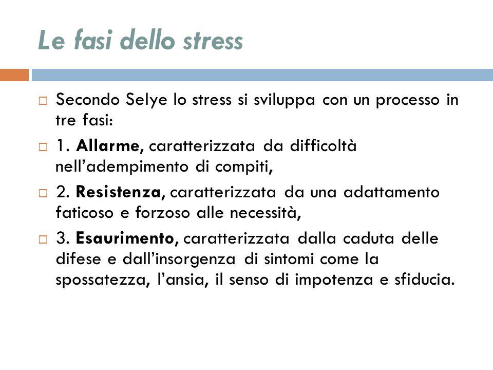 Le fasi dello stress Secondo Selye lo stress si sviluppa con un processo in tre fasi: