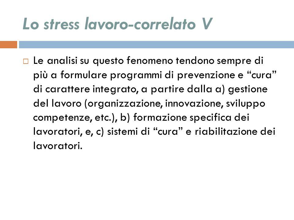 Lo stress lavoro-correlato V