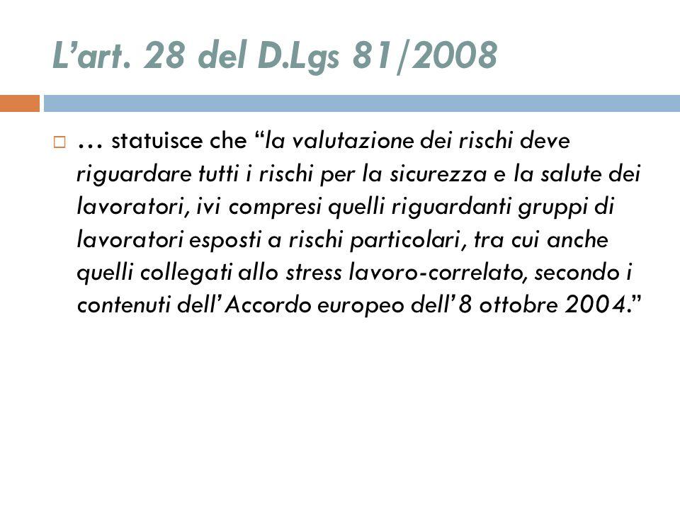 L'art. 28 del D.Lgs 81/2008