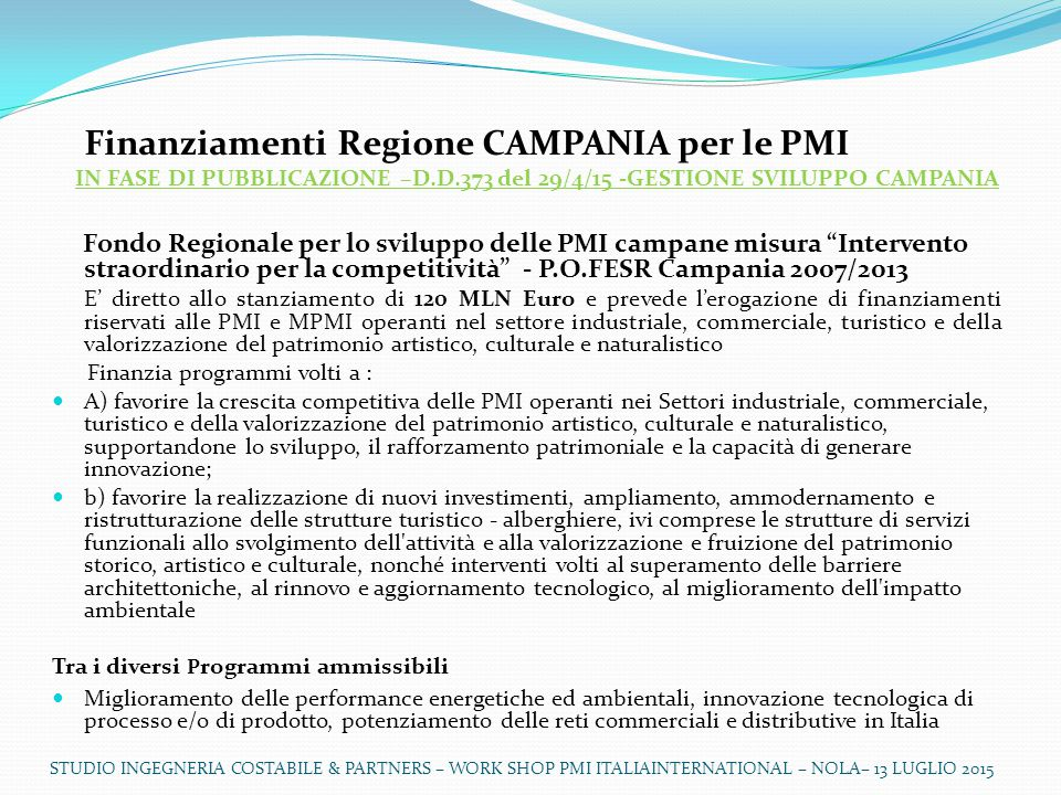 Finanziamenti Regione CAMPANIA per le PMI