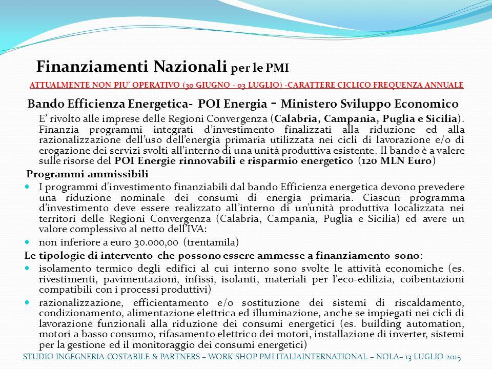 Finanziamenti Nazionali per le PMI
