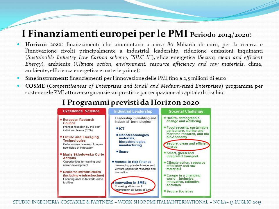 I Finanziamenti europei per le PMI Periodo 2014/2020: