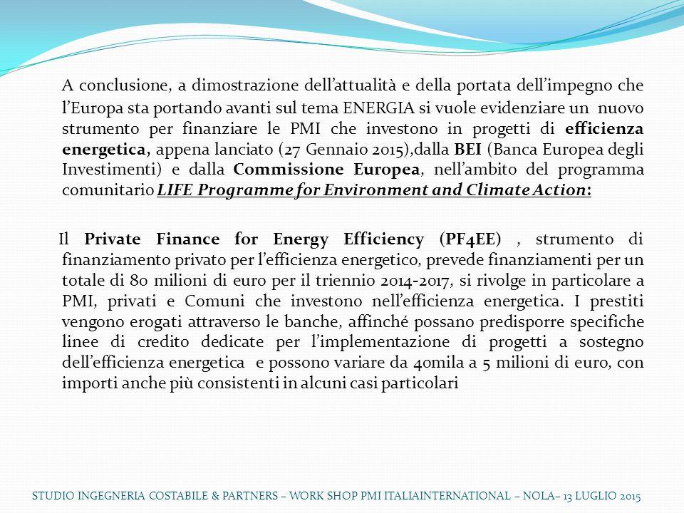 A conclusione, a dimostrazione dell'attualità e della portata dell'impegno che l'Europa sta portando avanti sul tema ENERGIA si vuole evidenziare un nuovo strumento per finanziare le PMI che investono in progetti di efficienza energetica, appena lanciato (27 Gennaio 2015),dalla BEI (Banca Europea degli Investimenti) e dalla Commissione Europea, nell'ambito del programma comunitario LIFE Programme for Environment and Climate Action: