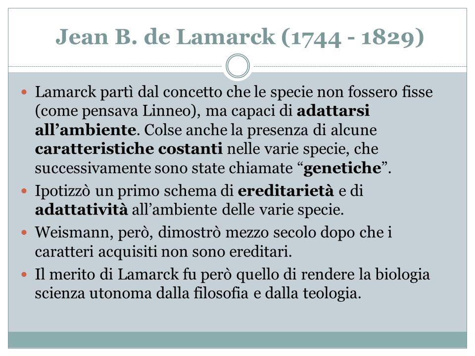 Jean B. de Lamarck (1744 - 1829)