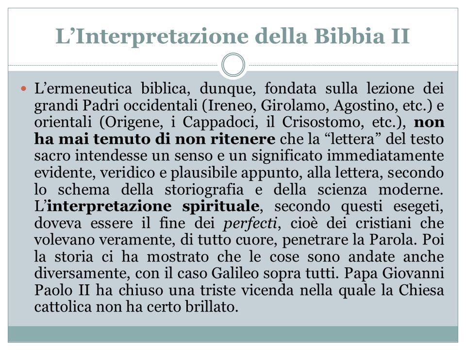 L'Interpretazione della Bibbia II