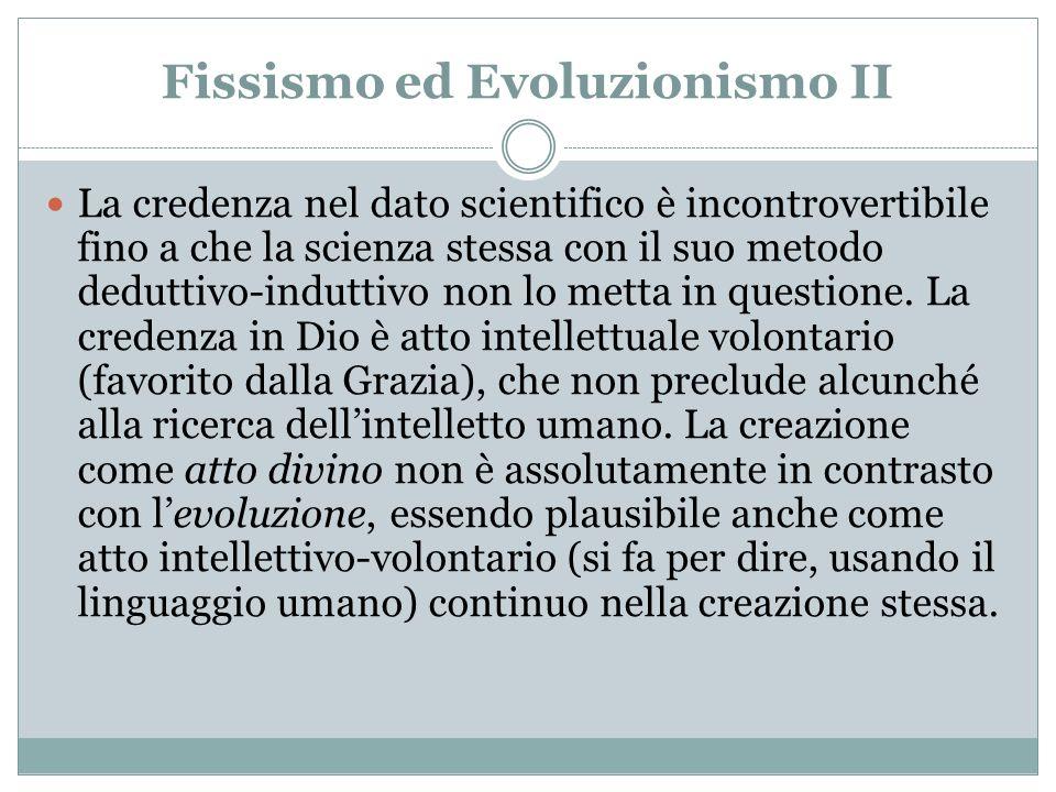 Fissismo ed Evoluzionismo II
