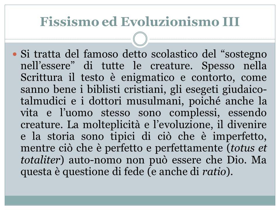 Fissismo ed Evoluzionismo III