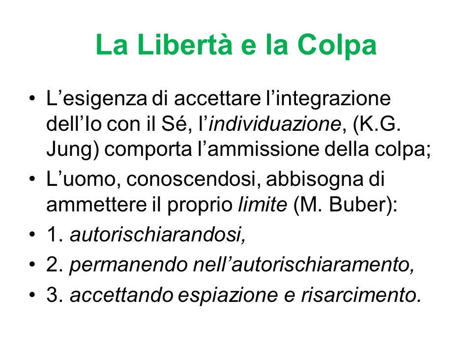 La Libertà e la Colpa L'esigenza di accettare l'integrazione dell'Io con il Sé, l'individuazione, (K.G. Jung) comporta l'ammissione della colpa;