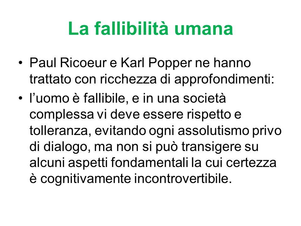 La fallibilità umanaPaul Ricoeur e Karl Popper ne hanno trattato con ricchezza di approfondimenti: