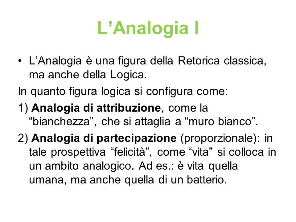 L'Analogia I L'Analogia è una figura della Retorica classica, ma anche della Logica. In quanto figura logica si configura come: