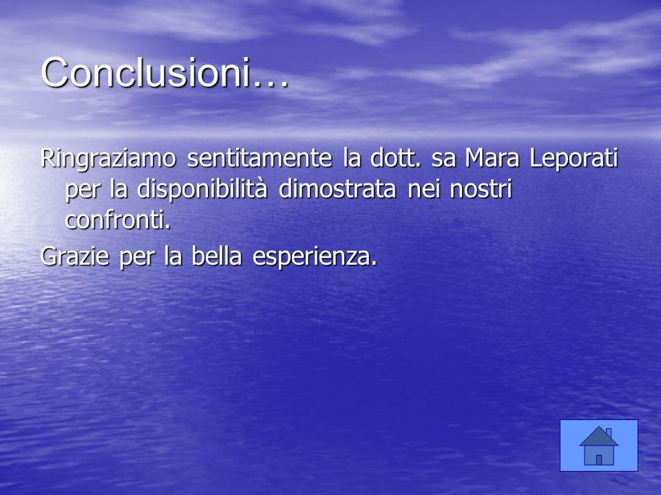 Conclusioni… Ringraziamo sentitamente la dott. sa Mara Leporati per la disponibilità dimostrata nei nostri confronti.