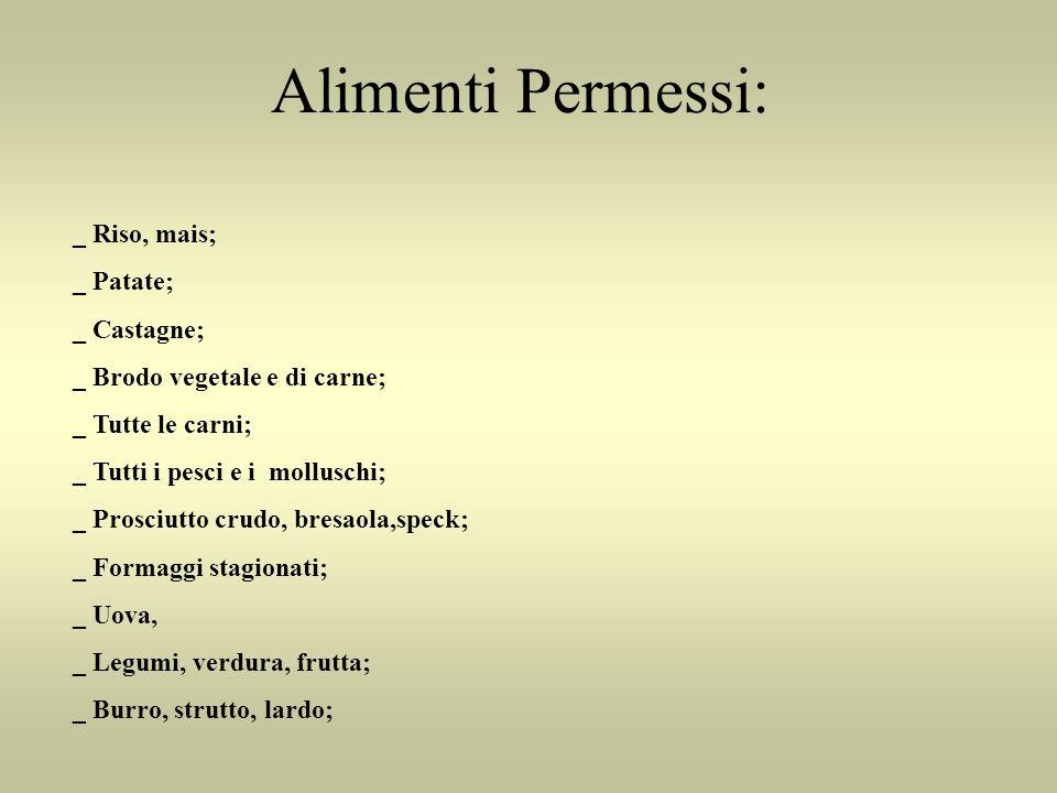 Alimenti Permessi: _ Riso, mais; _ Patate; _ Castagne;