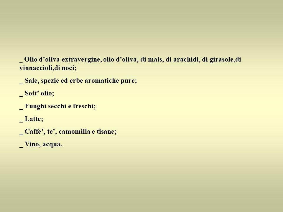 _ Sale, spezie ed erbe aromatiche pure; _ Sott' olio;