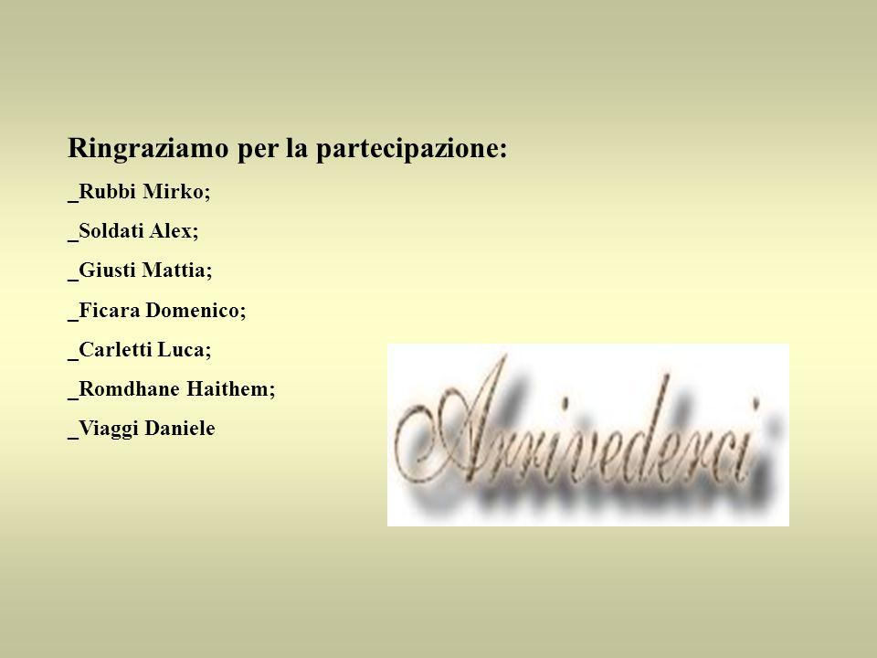 Ringraziamo per la partecipazione: