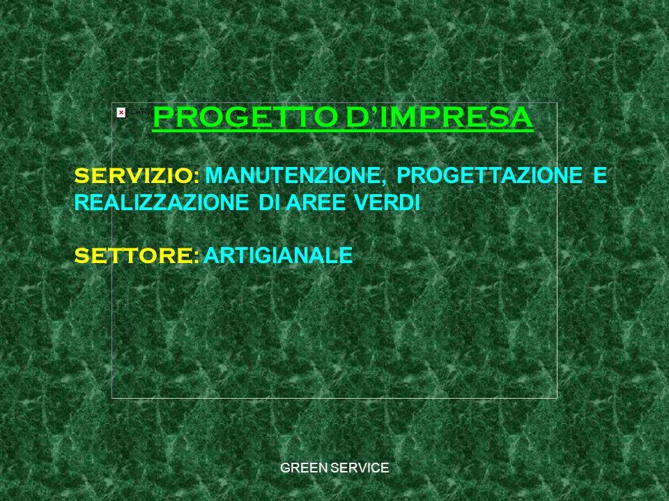 PROGETTO D'IMPRESA SERVIZIO: MANUTENZIONE, PROGETTAZIONE E REALIZZAZIONE DI AREE VERDI. SETTORE: ARTIGIANALE.