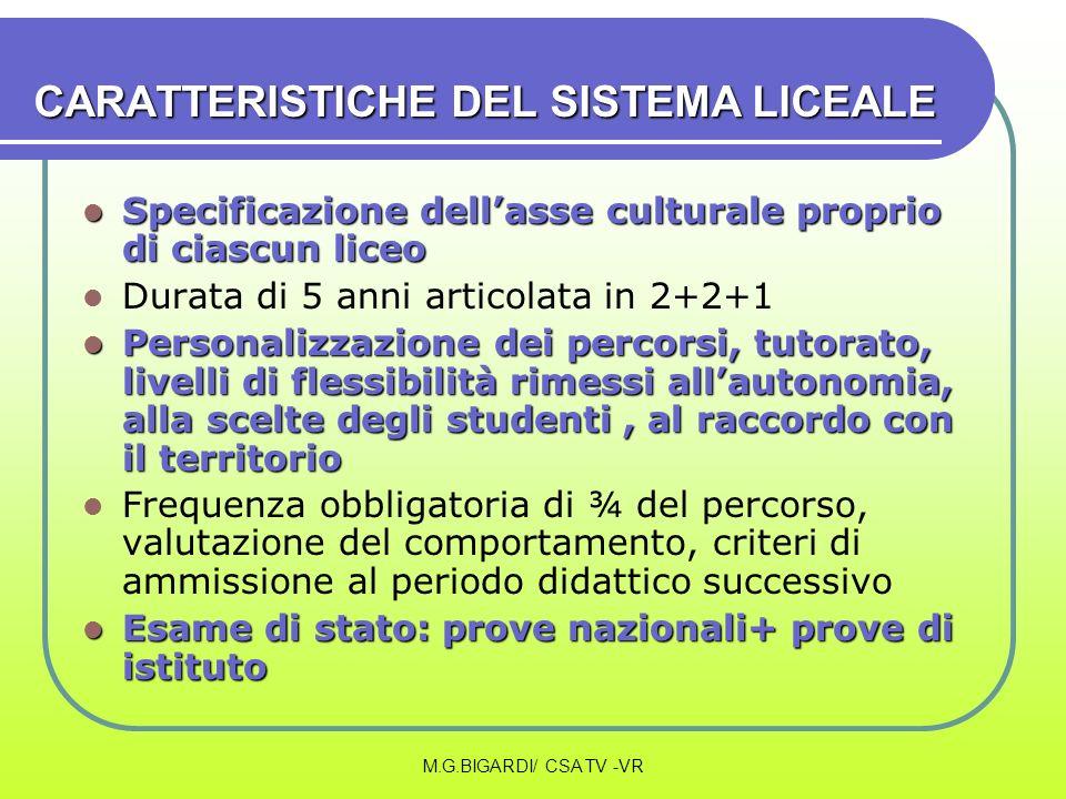 CARATTERISTICHE DEL SISTEMA LICEALE