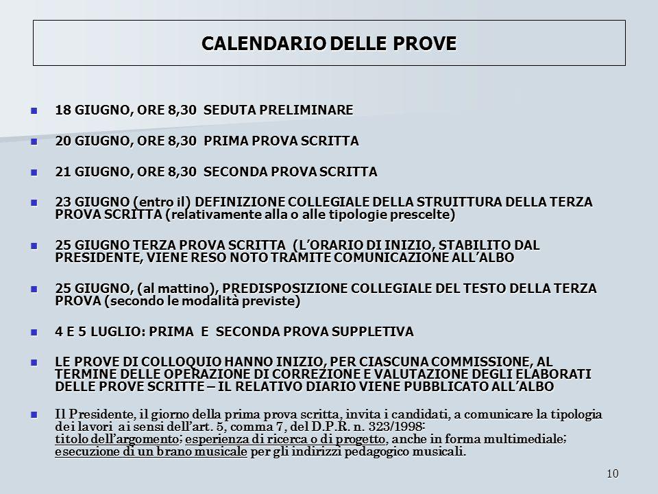 CALENDARIO DELLE PROVE