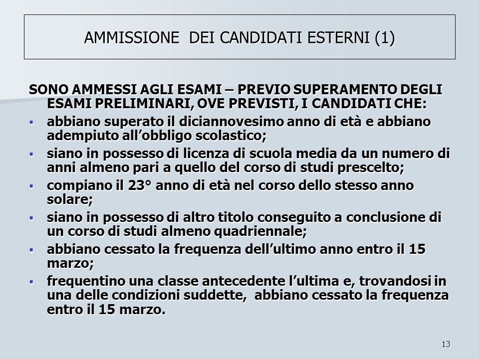 AMMISSIONE DEI CANDIDATI ESTERNI (1)