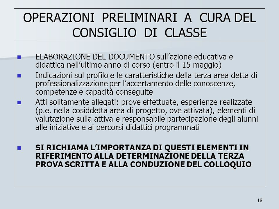 OPERAZIONI PRELIMINARI A CURA DEL CONSIGLIO DI CLASSE