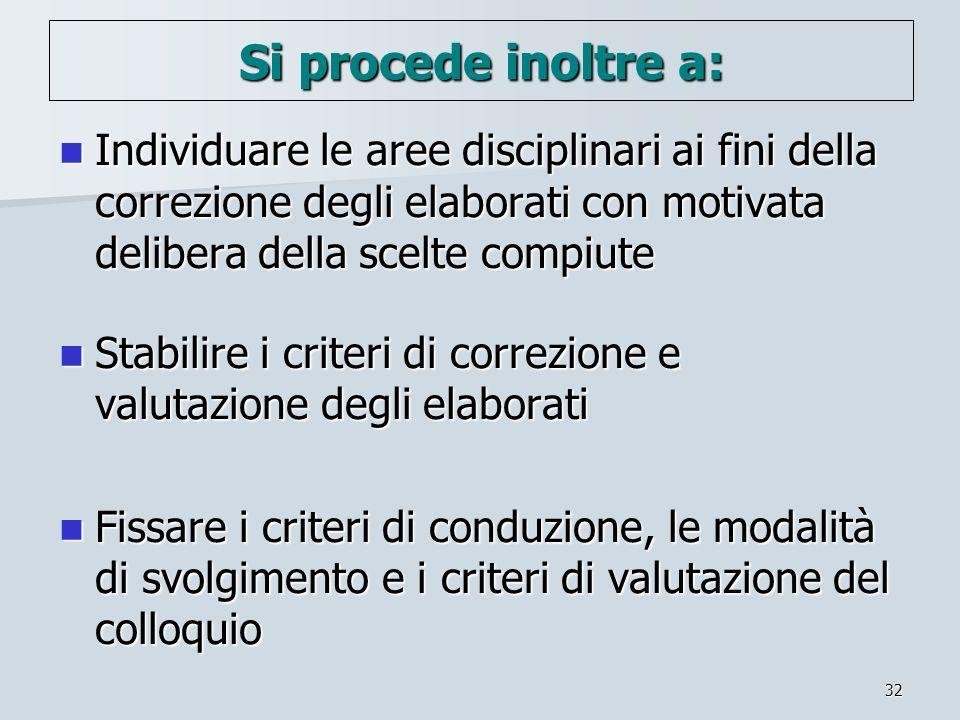 Si procede inoltre a: Individuare le aree disciplinari ai fini della correzione degli elaborati con motivata delibera della scelte compiute.