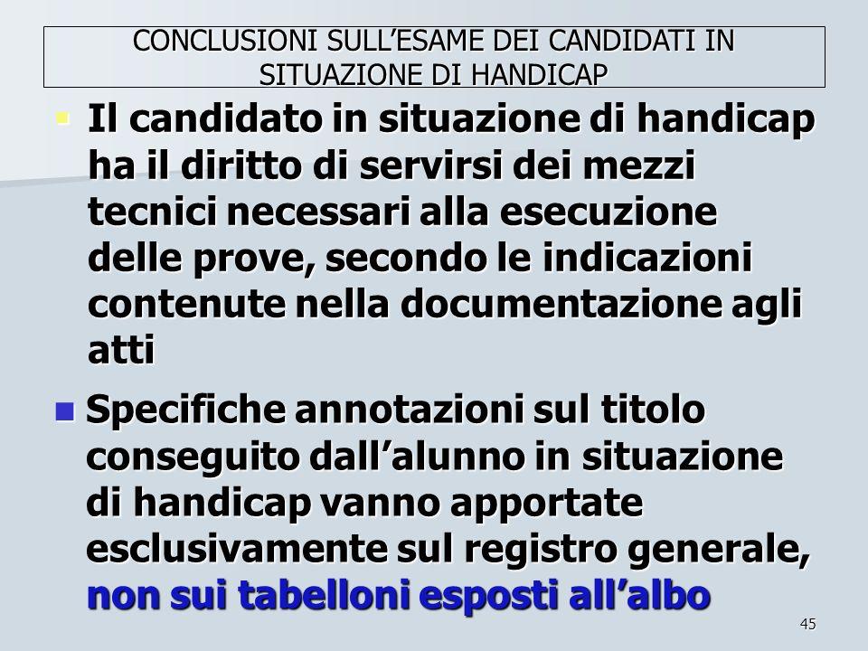 CONCLUSIONI SULL'ESAME DEI CANDIDATI IN SITUAZIONE DI HANDICAP