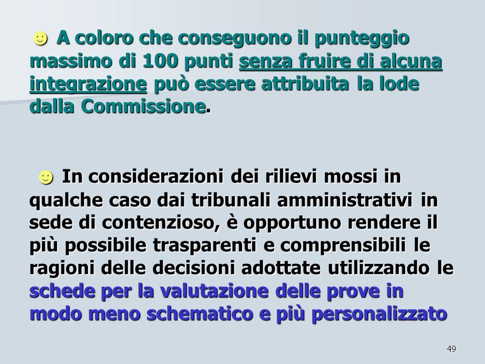 ☻ A coloro che conseguono il punteggio massimo di 100 punti senza fruire di alcuna integrazione può essere attribuita la lode dalla Commissione.
