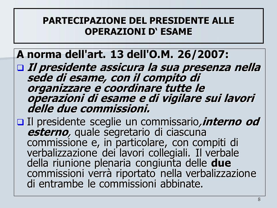 PARTECIPAZIONE DEL PRESIDENTE ALLE OPERAZIONI D' ESAME