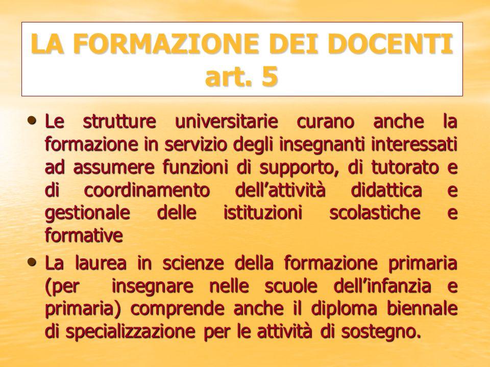 LA FORMAZIONE DEI DOCENTI art. 5