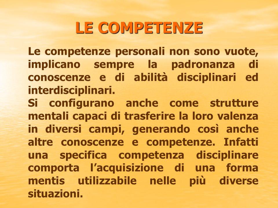 LE COMPETENZE Le competenze personali non sono vuote, implicano sempre la padronanza di conoscenze e di abilità disciplinari ed interdisciplinari.