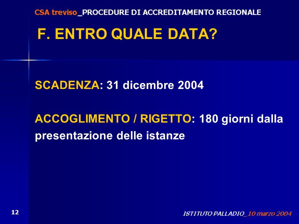 F. ENTRO QUALE DATA SCADENZA: 31 dicembre 2004