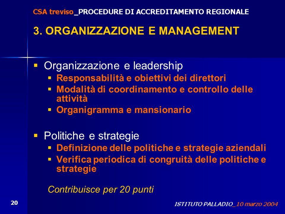 3. ORGANIZZAZIONE E MANAGEMENT