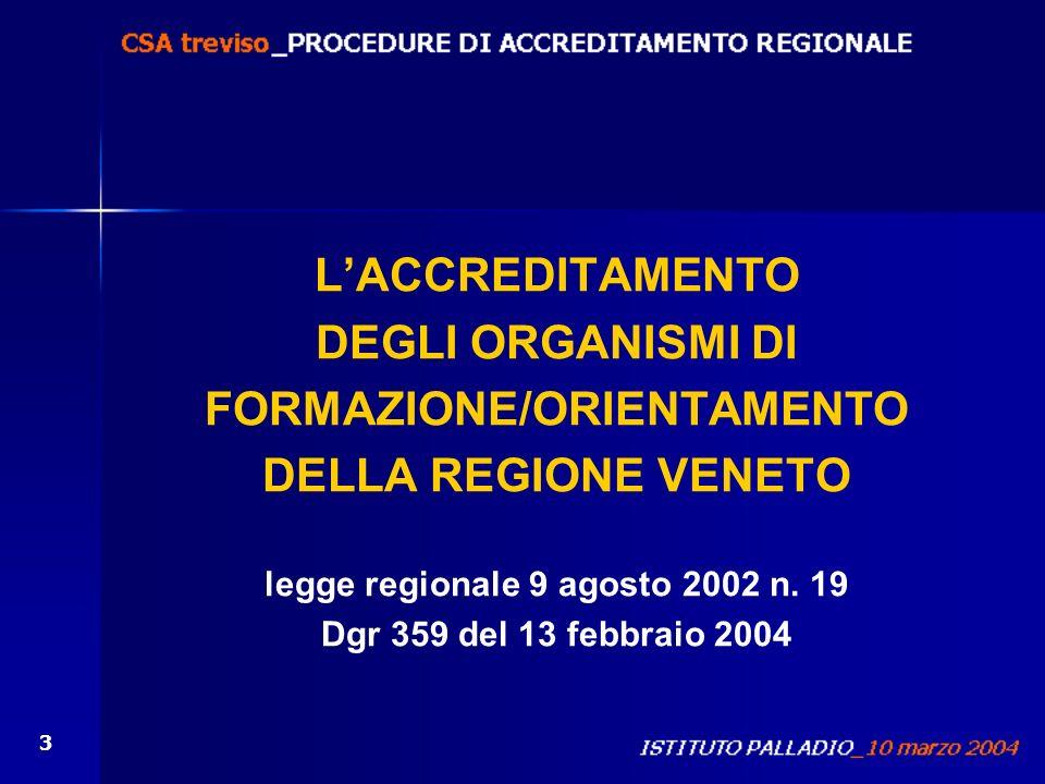 FORMAZIONE/ORIENTAMENTO legge regionale 9 agosto 2002 n. 19