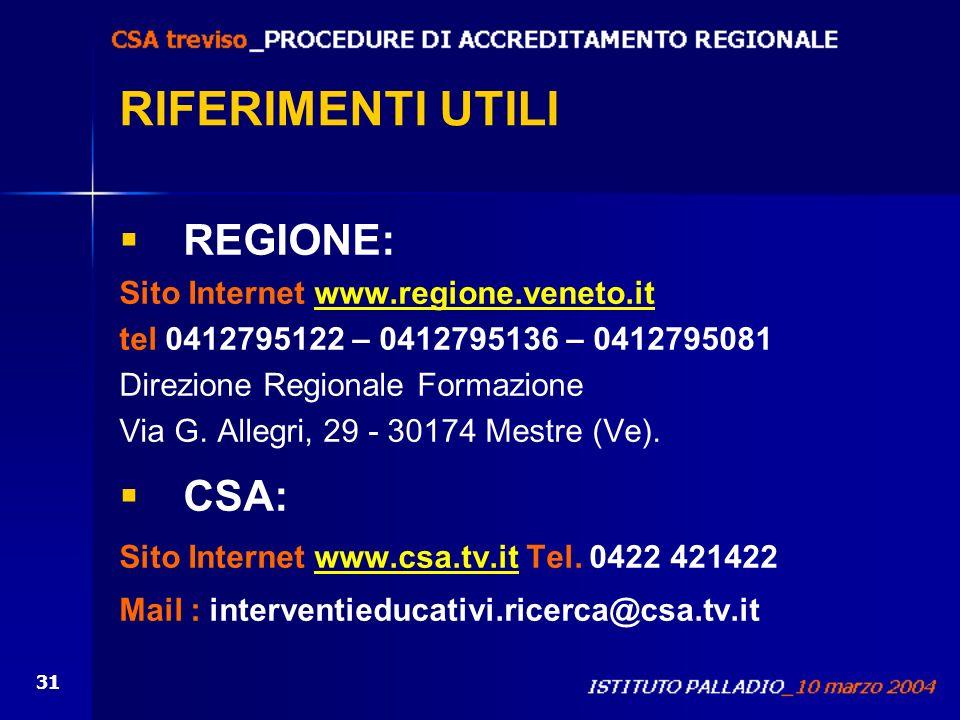 RIFERIMENTI UTILI REGIONE: CSA: Sito Internet www.regione.veneto.it