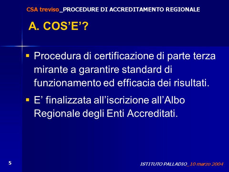 A. COS'E' Procedura di certificazione di parte terza mirante a garantire standard di funzionamento ed efficacia dei risultati.