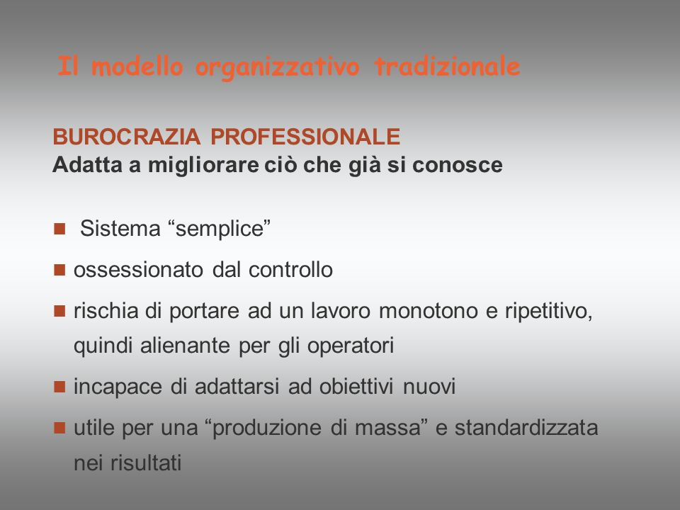 Il modello organizzativo tradizionale