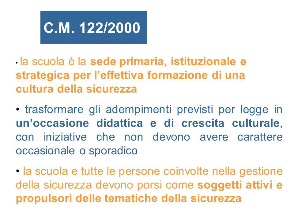 C.M. 122/2000 la scuola è la sede primaria, istituzionale e strategica per l'effettiva formazione di una cultura della sicurezza.