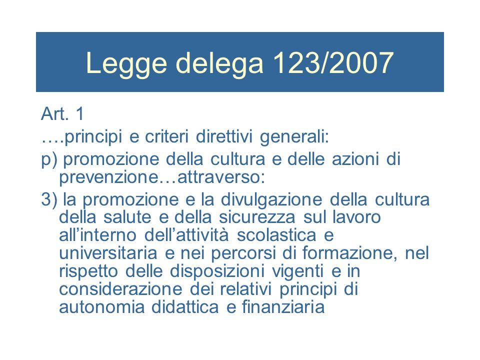Legge delega 123/2007 Art. 1 ….principi e criteri direttivi generali: