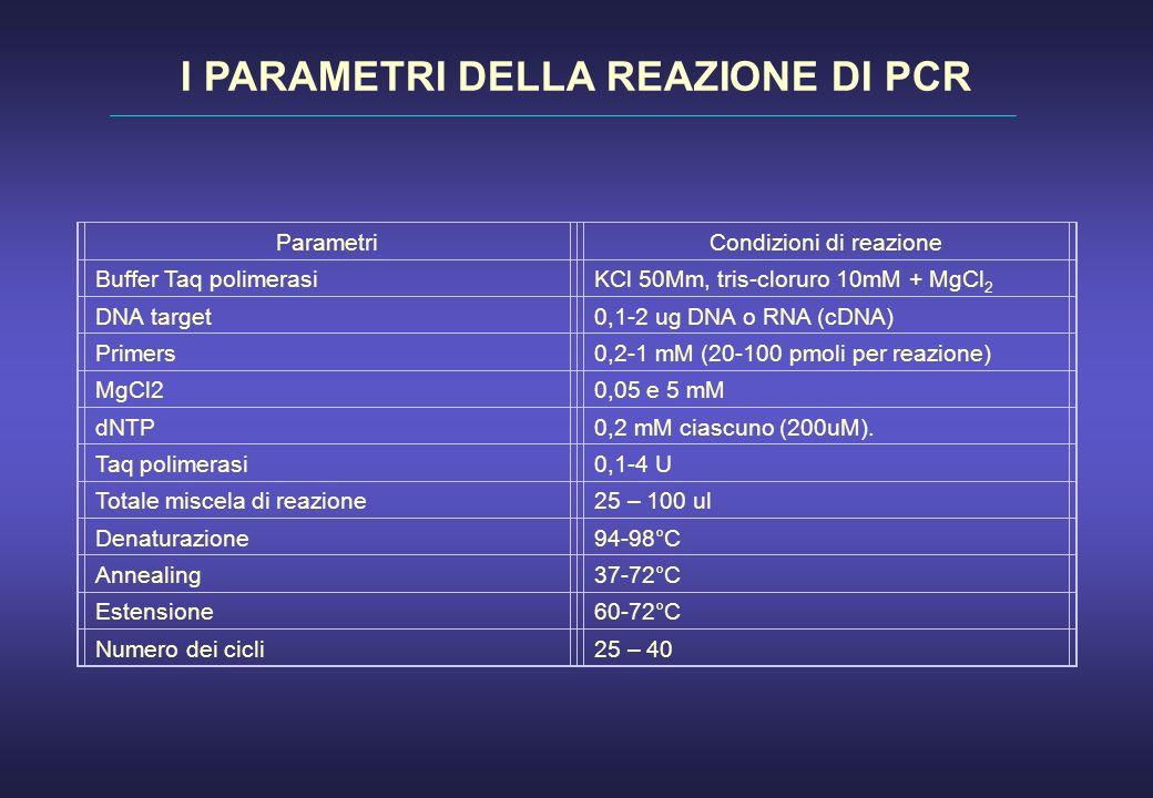 I PARAMETRI DELLA REAZIONE DI PCR