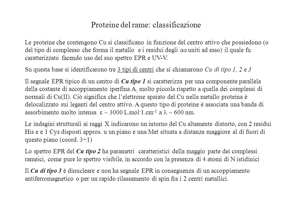 Proteine del rame: classificazione