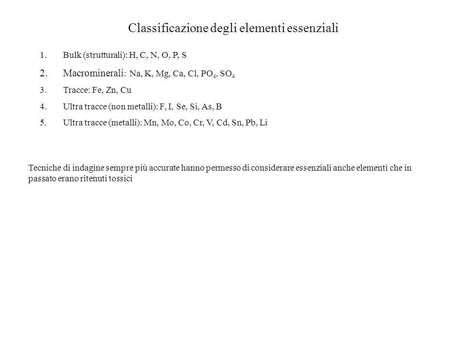 Classificazione degli elementi essenziali