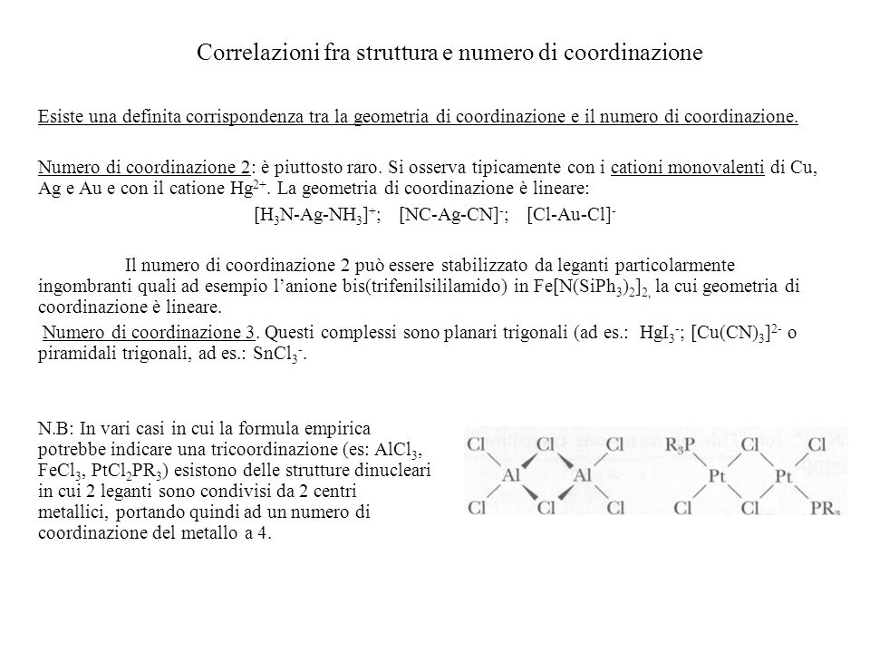 Correlazioni fra struttura e numero di coordinazione
