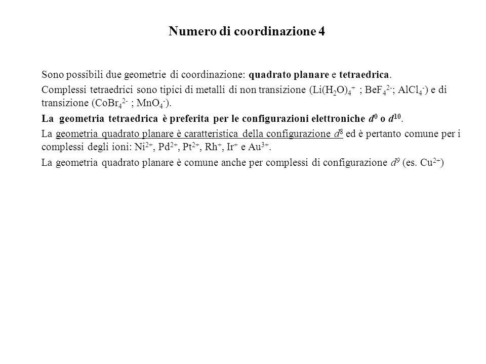 Numero di coordinazione 4